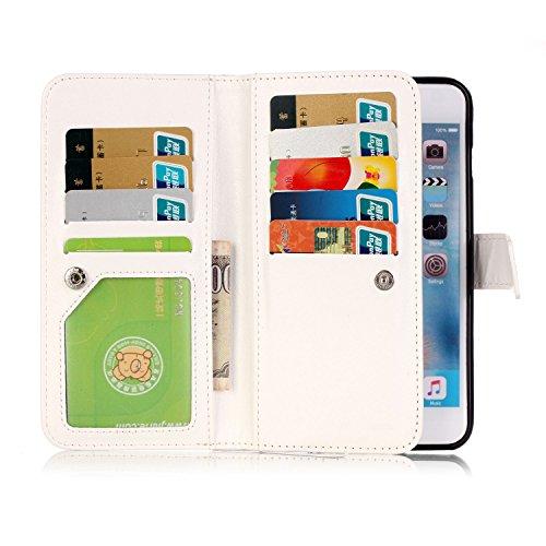 PU para smartphone Apple iPhone 6(4.7pulgadas) Carcasa, [9tarjeteros] de piel para Apple iPhone 6(4.7pulgadas) Flip Cover Funda Libro Con Tarjetero Función Atril magnético + Polvo Conector marrón 4