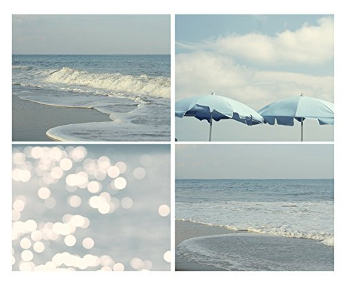 Shabby Chic Beach Cottage Wall Art, Coastal Beach Print Set of 4, Ocean Waves Photography, Beach Umbrellas, Abstract Light Bokeh Photo Prints, Pastel Blue Nautical Bathroom or Bedroom Decor Set by Natural Photography Spa