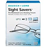 Bausch & Lomb Sight Savers Pre-moistened Lens Cleaning Tissues, Large (Pack of 2-100 Count)