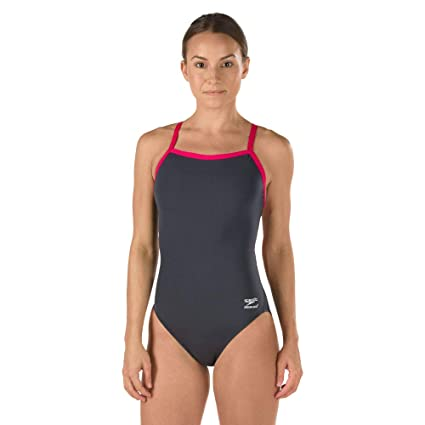 Speedo Women s Endurance+ Solid Flyback Training Suit Charcoal Pink 0 e0cf5a8e8
