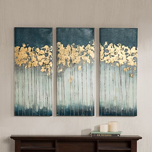 Midnight Forest Gel Coat Canvas with Gold Foil Embellishment Teal See below