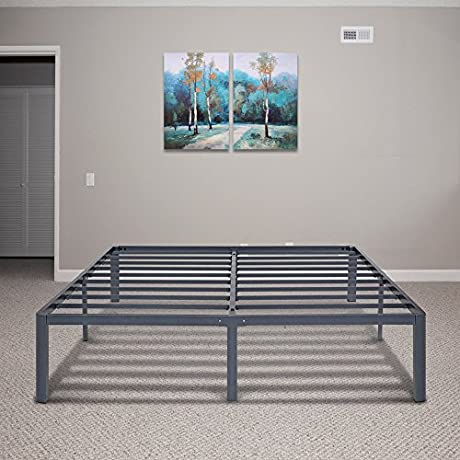 PrimaSleep 14 Inch PT 2000 Simple And Sturdy Steel Slat Round Edge NON SLIP Metal Bed Frame 14 H Full Gray