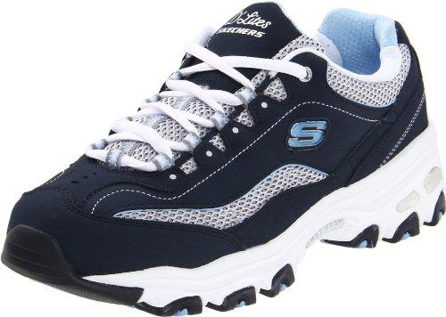 Skechers D'Lites Centennial Women's Casual Sneakers, Navy/White/Light Blue, 8 2E US - Skechers Extra Wide Womens Shoes