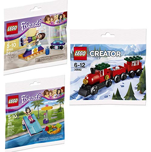 LEGO Train Friends Gym & Pool Sport Set Brick Girls Mini Figure Building 2 Bagged Set Bundle Creator Holiday Ride Train 3 Items