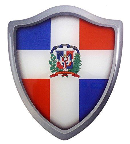Dominican Republic flag Shield Domed Decal 3D Look Emblem Resin car sticker 2.6