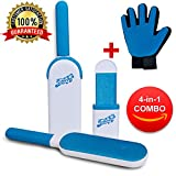#1: Deluxe Dual Sided Pet Hair Remover Tool - Fur & Lint Removal Brush - Dog & Cat Hair Remover for Clothes,Furniture,Car,Couch by FurryFare- Includes Grooming & Deshedding  Glove & Fur Hair Removal Kit