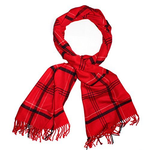 "(Brighter Threads Premium Cashmere Scarf Super Soft Wool Pashmina Winter Scarf 79"" x 24"" (Thin Plaid Scarlet Red))"