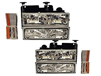 Chevy/GMC Tahoe/Suburban/Truck 8-Piece Chrome Headlights Set (fits early models)