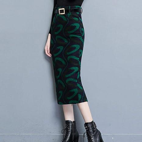 HEHEAB Falda De Invierno,El Verde S-4Xl Plus Size Lana Mujer ...