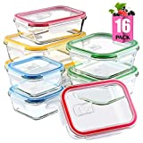 #9: Glass Meal Prep Containers Set with Lids for Lunch Food Storage 16 Pieces Glass Lunch Containers