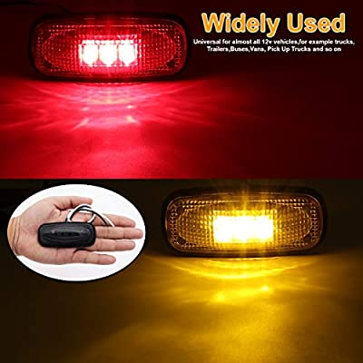 [Pack of 4] LedVillage 3.4 Inch Smoked Lens 2 Amber + 2 Red LED Side Marker Lights F3 Piranha Sealed Assembly Fender Dually Ram 3500 Universal for Truck RV Trailer Cabin SUV 12V DC Clearance Lamp UK12: Automotive