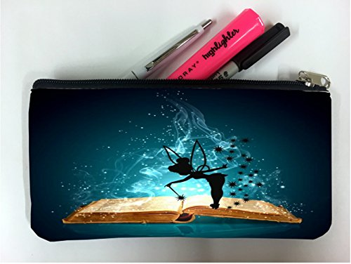 (Magic Spell Book with Cute Fairy Silhouette Design Print Image Student Pen Pencil Case Coin Purse Pouch Cosmetic Makeup Bag)