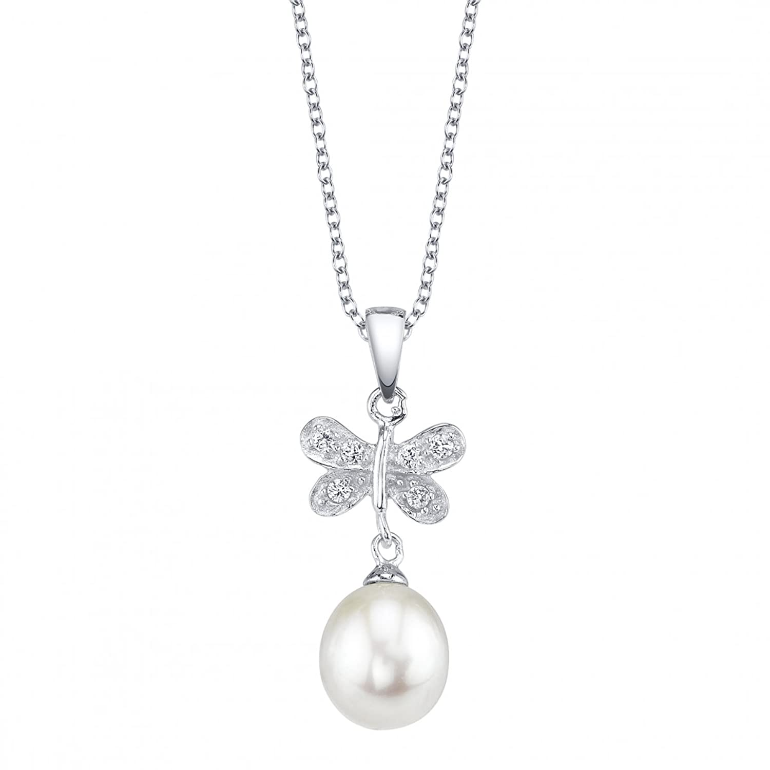 """8mm White Freshwater Cultured Pearl & Crystal Chrissy Pendant, 14"""" Children's Chain"""