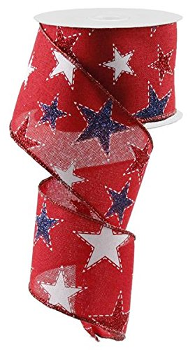 Dashed Glitter Stars Wired Edge Ribbon - 10 Yards (Red, 2.5