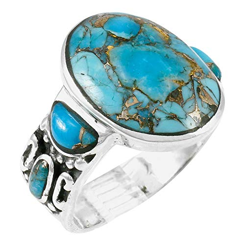 Sterling Silver Gemstone Ring with Genuine Turquoise (SELECT color) (Teal/Matrix Turquoise, ()