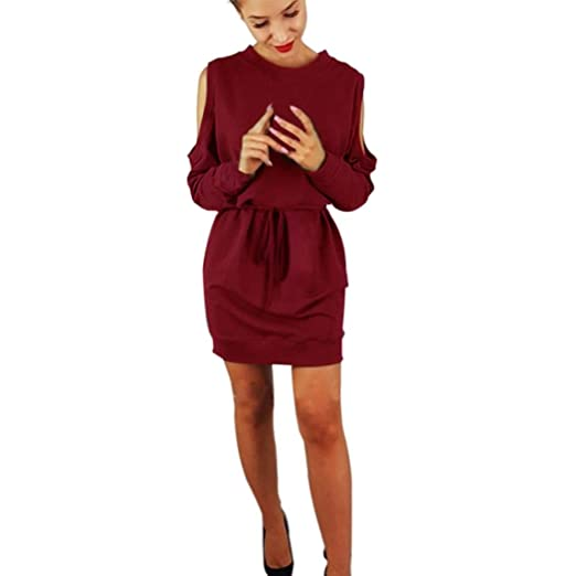 c16579e9a4f09e Amazon.com  Muranba Womens Long Sleeve Cold Shoulder Casual Party Dress   Clothing