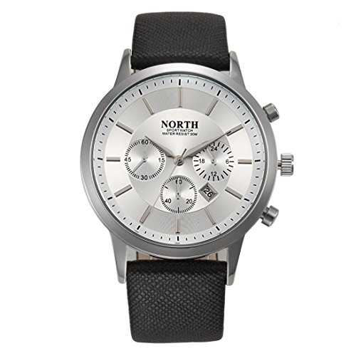 [Men's Watch,FUNIC Sports Luxury Mens Genuine Leather Band Analog Quartz Watches (White)] (Leather Genuine Chronograph)