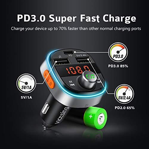 Bluetooth 5.0 Car Transmitter, 【Deep Bass】VicTsing PD3.0 FM Transmitter with 7 Color LED Backlit (Black)