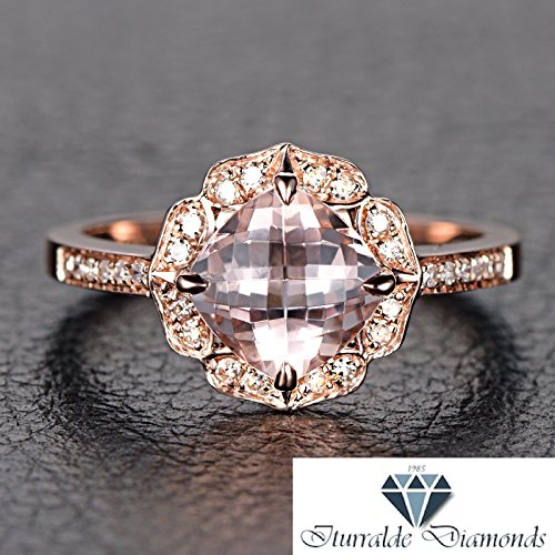 (14k Vintage Floral Style Cushion Cut Morganite Diamond Pave Ring)
