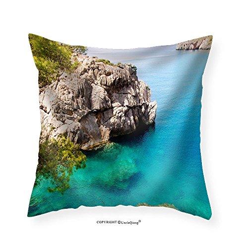Island Daybed (VROSELV Custom Cotton Linen Pillowcase wall26 -corca Sa Calobra Beach in Mallorca Balearic Island from Spain - Fabric Home Decor 24