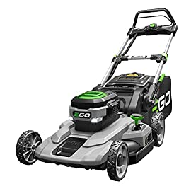 "EGO 21 in. 56-Volt Lithium-Ion Cordless Battery Push Mower with 5.0 Ah battery and charger 105 EGO Power+ 21"" Push Lawn Mower is equipped with a large 21"" deck and has a run time for up to 45 minutes. This powerful mower uses 56V lithium-ion battery"