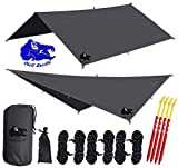 "Chill Gorilla 10x10 Hammock Waterproof Rain Fly Tent Tarp 170"" Centerline. Ripstop Nylon & Not Polyester Cover. Stakes Included. Survival Gear Backpacking Camping Camp Accessories. Gray"