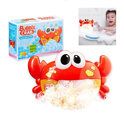 Relaxdays 10027901 Badtijd Krab speelgoed met muziek, voor kinderen, peuters, badzeepbellen, schuimmachine, 3 jaar…