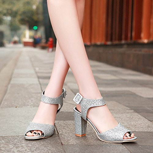 Carolbar Womens Shiny Sequins Buckle Peep Toe Fashion Evening Party Chunky High Heel Dress Sandals Silver x55fcaqT