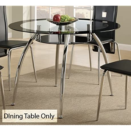 Contemporary Dining Table W Glass Table Top And Chrome Base By Poundex
