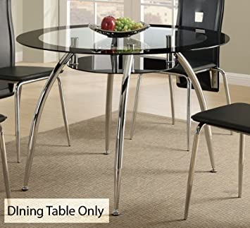 Contemporary Dining Table W/Glass Table Top And Chrome Base By Poundex