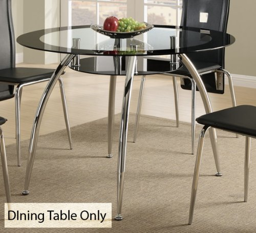Amazon.com   Contemporary Dining Table W/Glass Table Top And Chrome Base By  Poundex   Tables