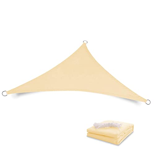 Tuosite Terylene Waterproof Sun Shade Sail UV Blocker Sunshade Patio Equilateral Triangle Knitted 220 GSM Block Fabric Pergola Carport Awning 12 x 12 x 12 in Color Beige