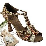 Women's Ballroom Dance Shoes Tango Wedding Salsa Dance Shoes Copper & Red & White S2806EB Comfortable - Very Fine 3'' Heel 6.5 M US [Bundle of 5]
