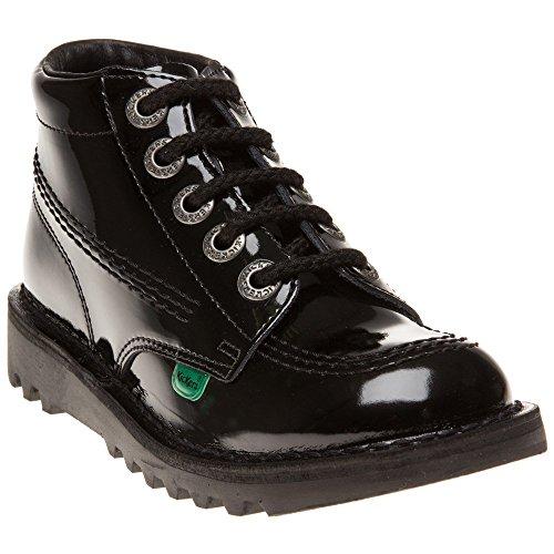 Junior Kickers Kick Hi Patent Black Leather Boots - 13 UK / 32 - Shoes Kickers Childrens
