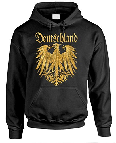 DEUTSCHLAND METALLIC GOLD - german eagle Pullover Hoodie, 2XL, Black