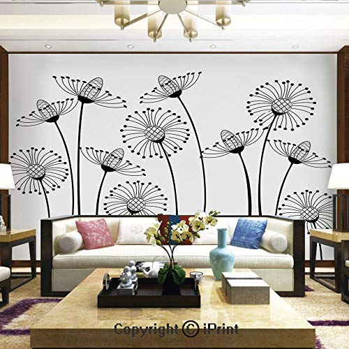 Lionpapa_mural Removable Wall Mural | Self-Adhesive Large Wallpaper,Meadow Flowers Stylized Abstract Dandelions Countryside Art Decorative,Home Decor - 66x96 ()