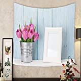 Keshia Dwete Custom tapestry fresh pink tulip flowers bouquet and blank photo frame with copy space on shelf in front of wooden