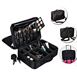 Lumcrissy 3 Layers Professional Large Capacity Makeup Bag Women Travel Storage Organizer Makeup Tools Brush Professional Cosmetic Case