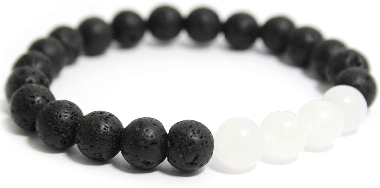 2LIVEfor - Pulsera negra y blanca con piedras de lava y jade auténticas perlas, color blanco y negro, pulsera de la amistad