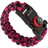 "Core Survival Paracord Survival Bracelet - Hiking Multi Tool, Emergency Whistle, Compass for Hiking, Camp Fire Starter 5-in1 Set (Hot Pink Camo, 9.75"" Medium)"