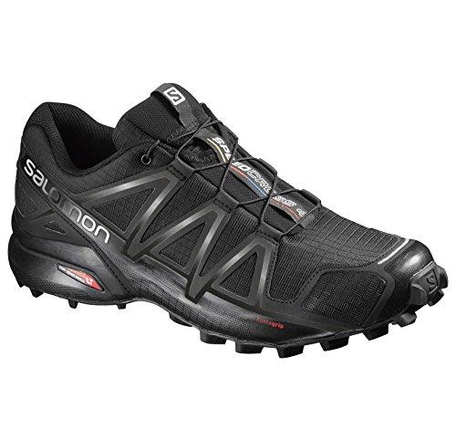 Salomon Men's Speedcross 4 Trail Running Shoes, Black/Black/BLACK METALLIC, 9.5 (Convert Shoes)