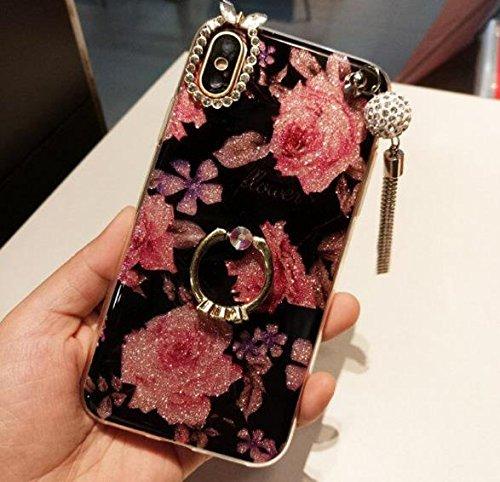 iPhoneキラキラ光る花Tpu、Auroralove Iphone BeautyファッションShinyダイヤモンドラインストーンスリムソフトラバーハイブリッドメイクアップケースiPhoneのガールズレディース iphone X 5.8 Inch B076YR4ZPH iphone X 5.8 Inch|ローズ フラワー ローズ フラワー iphone X 5.8 Inch