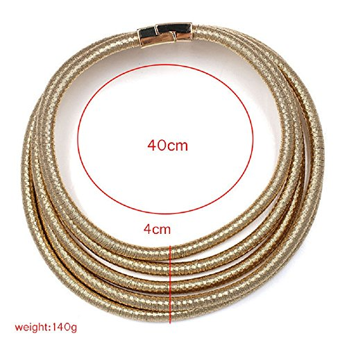 FANCY LOVE Newes Double Rope Maxi Colar Choker Necklace or Bracelet with Maganetic Lock (Gold necklace) by FANCY LOVE BOUTIQUE (Image #3)