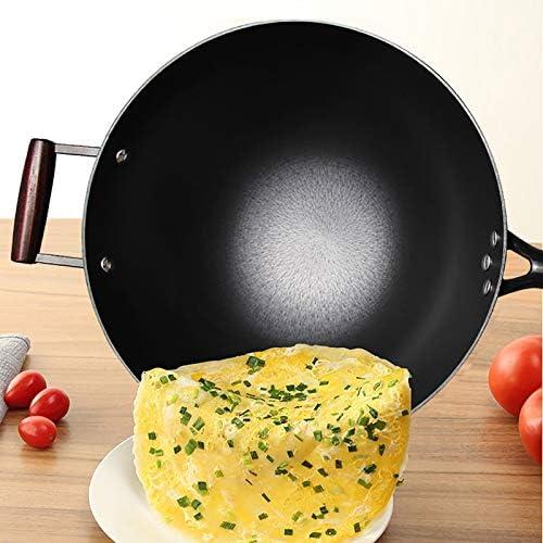 Pot de fer fer-pied Pot à la main Ton lumière sur la pointe du wok chinois traditionnel Wok Wok, Wok Pan 32cm (Size : 34 * 7cm)