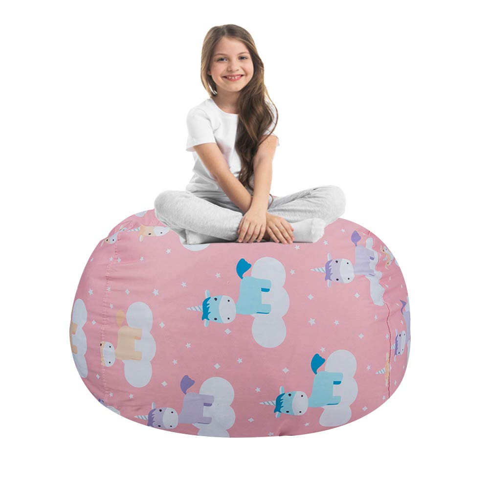 STTIAO Kids Stuffed Animal Storage Bean Bag with Carrying Handle Sturdy Cotton Bean Bag Cover Perfect for Toys and Clothes Kids Gift (Unicorn, 38'') by STTIAO