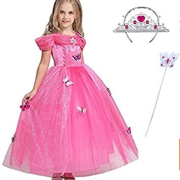 hot-vente dernier brillance des couleurs nouvelle sélection Robe Princesse Enfant Fille, LiUiMiY Tenue Magnifique Déguisement Carnaval  Costume Rose d'halloween Cosplay Anniversaire Fête avec Couronne Baguette