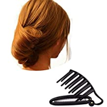 2Pcs Black Plastic Hair Braider Updo Bun Comb And Clip Tool Set for Hair Twist Maker Holder Women Girls Hair Styling Tools