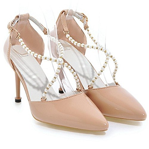 TAOFFEN Women Elegant Party Shoes Pointed Toe Apricot GBB2OUB31