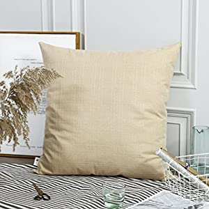 "Kevin Textile Decor Natural Style Linen Checkers Plaids Throw Pillow Cases Cushion Cover for Bed/Sofa, 2 Pieces, 26""x26"", Wheat"