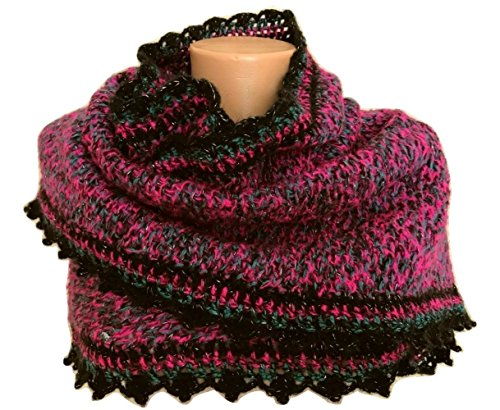 Knit Sparkle Shawl, Scarf, Crocheted Edge - Edge Shrug